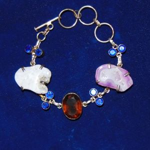 Vintage Stone Bracelet with Toggle Clasp